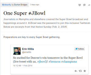 Storify from live tweeting the Super Bowl