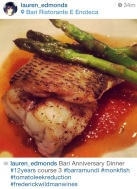 Photo courtesy of Lauren Edmonds: Barramundi and Monkfish, tomato leek reduction, bottarga, and white balsamic asparagus