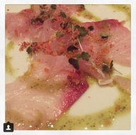 Photo courtesy of Lauren Edmonds: Red Snapper and Kampachi crudo